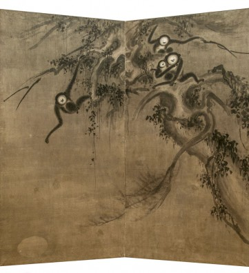Double-panel screen. «Monkeys truing to catch the moon reflected on the water»